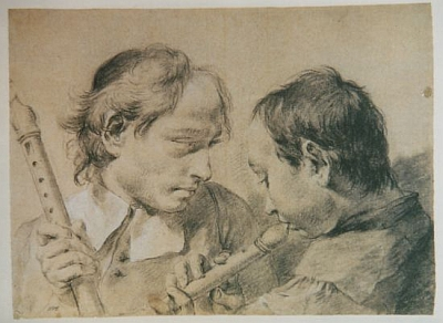 A Man and a Boy with Recorders - Giovanni Battista Piazzetta (1682-1754)